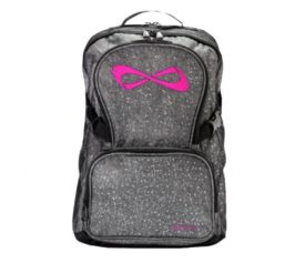 Nfinity Grey Sparkle Pink Logo Backpack