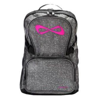 Nfinity Grey Sparkle Pink Logo Backpack