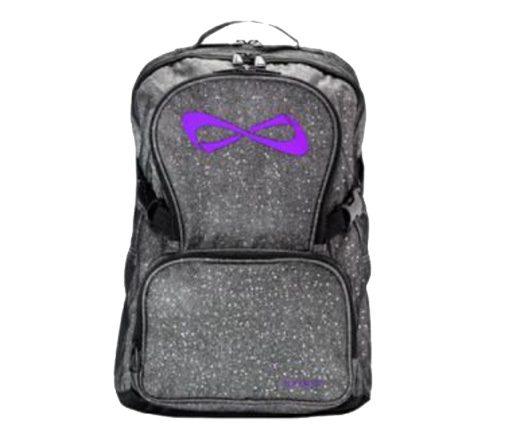 Nfinity Grey Sparkle Purple Logo Backpack