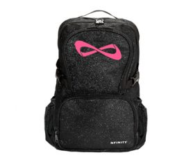 Nfinity Black Sparkle Pink Logo Backpack