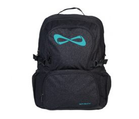 Nfinity Black Sparkle Backpack Teal Logo