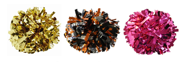 metallic cheer poms