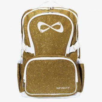 Nfinity Gold Sparkle White Logo Backpack
