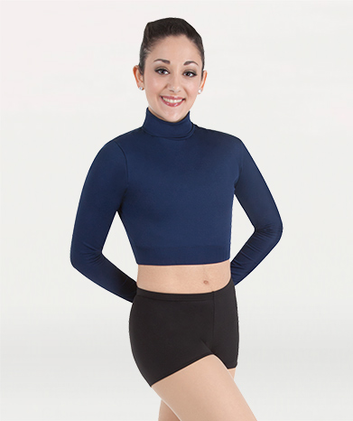 Body Wrappers Black Long Sleeve Turtleneck Cheer Crop Top Child Size 6X-7