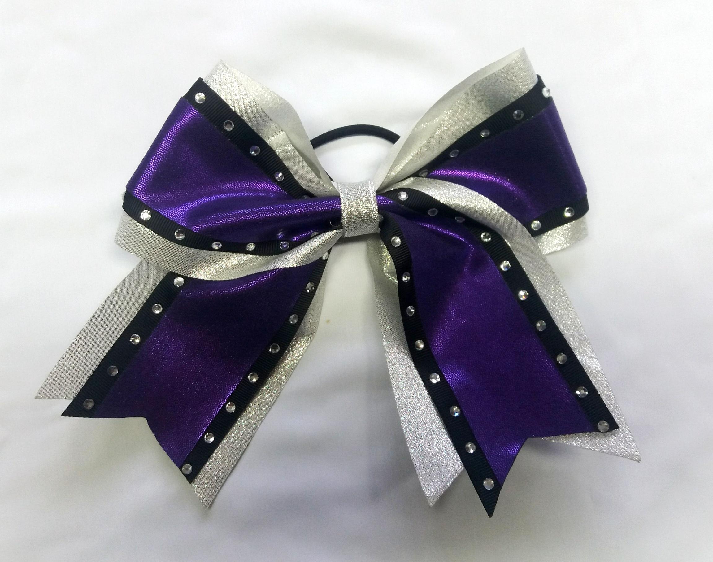 metallic purple and silver cheer bow cheer world