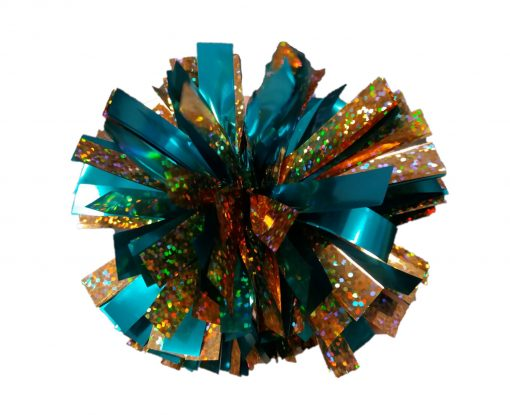 Image of Metallic Teal and Holographic Gold Mini Pom