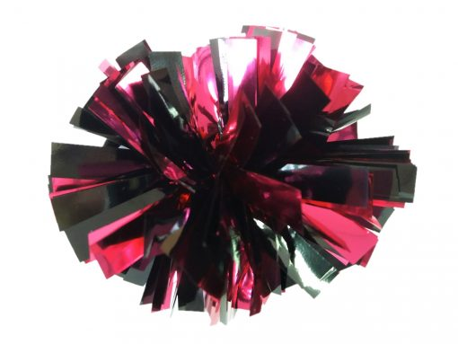 Image of a Metallic Black and Metallic Dark Pink Mini Pom