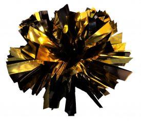 Image of a Metallic Black and Metallic Gold Mini Pom