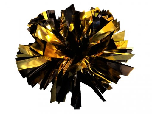 Image of a Metallic Black and Metallic Gold Mini Pom