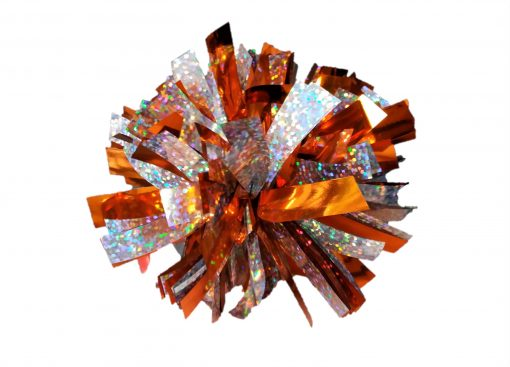 Image of a Metallic Orange and Holographic Silver Mini Pom